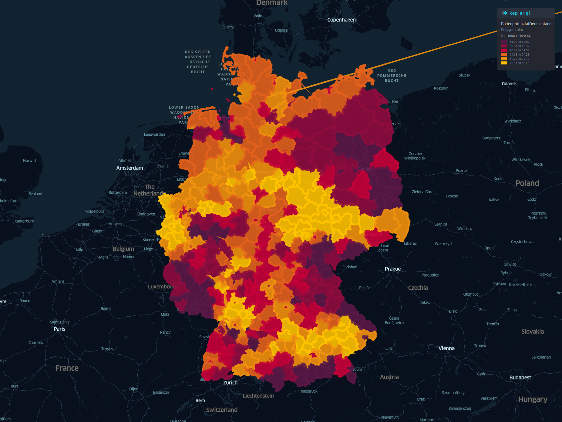 Visualizing farmland property prices in germany based on 2016 sales